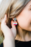 Cruella Multi-Colored Round Drop Polymer Clay Earrings