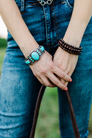 Turquoise and Silver Costume Bracelet