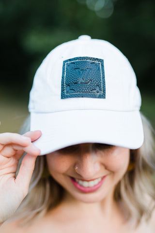 Upcycled White Hat with Black LV patch