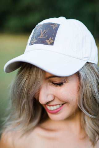 Upcycled White Hat with  LV patch