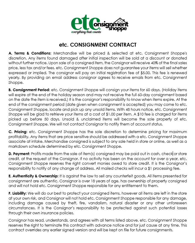 etc Consignment Contract for all consignors