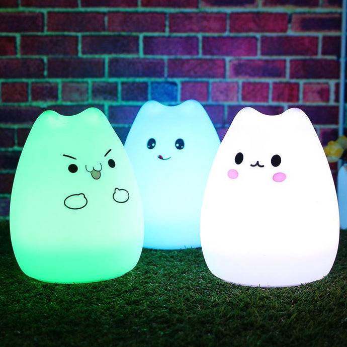 Colorful Silicone Animal Cat Night Light