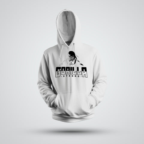 GORILLA STRONG LOGO WHITE PERFORMANCE HOODIE