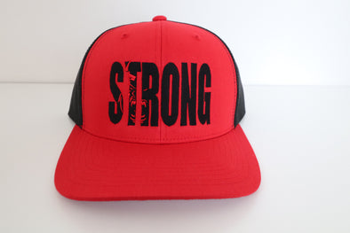 STRONG RED OVER BLACK HAT