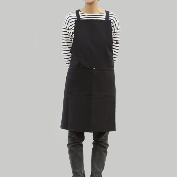 Full Apron - Black Cotton Canvas - Cross Straps