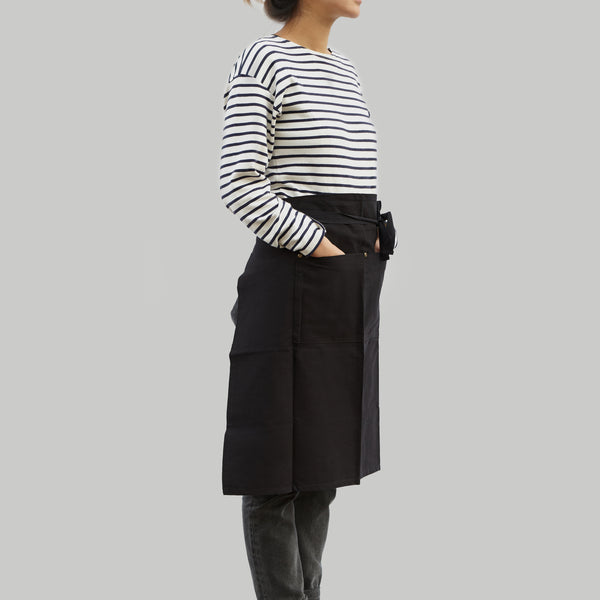 Waist Apron with Pockets - Black Cotton Canvas