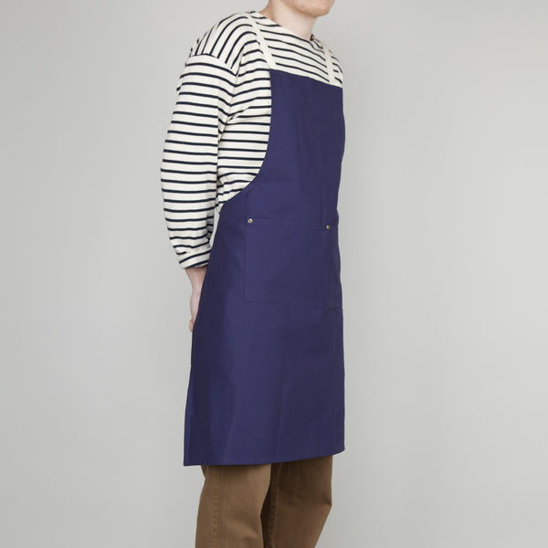 Full Apron - Sanded Cotton Twill in French Navy - Cross Straps