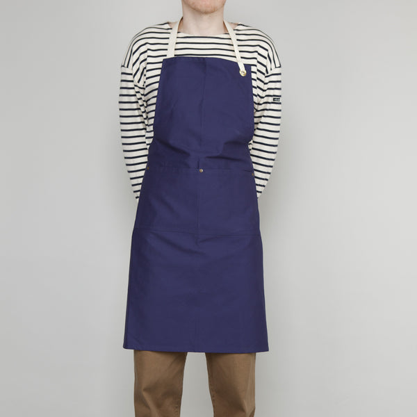 Full Apron - Sanded Cotton Twill in French Navy