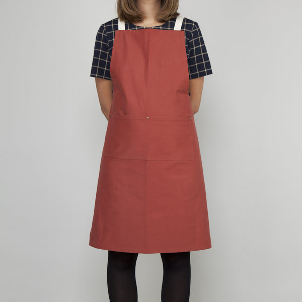 Full Apron - Sanded Cotton Twill in Terracotta - Cross Straps