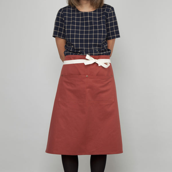 Waist Apron with Pockets - Sanded Cotton Twill in Terracotta