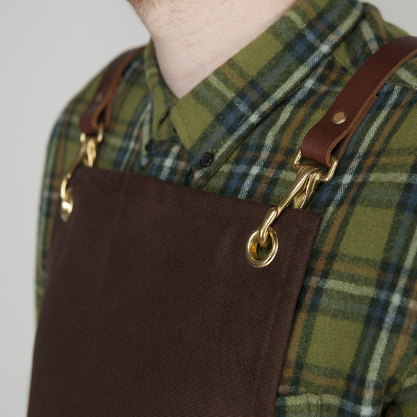 Workshop Apron - Leather Straps -  Brown