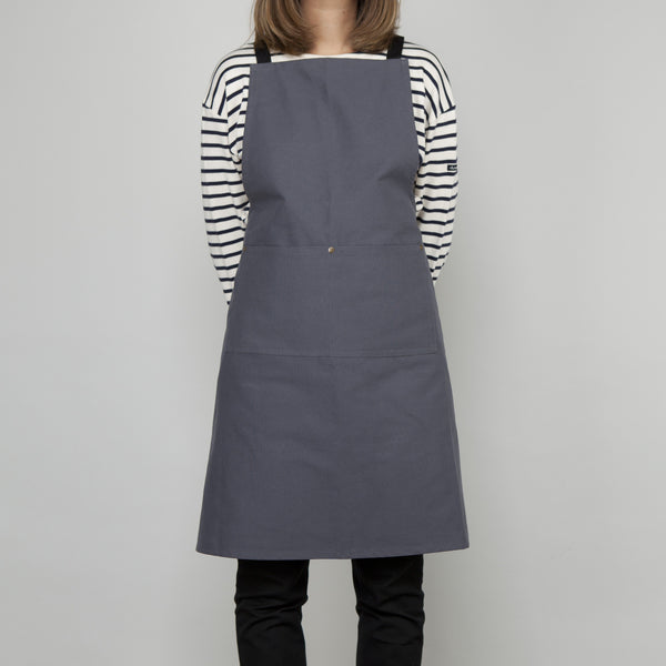 Full Apron - Slate Grey Cotton Canvas - Cross Straps SECOND