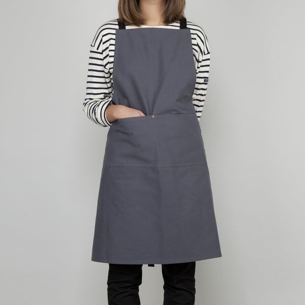 Full Apron - Slate Grey Cotton Canvas - Cross Straps
