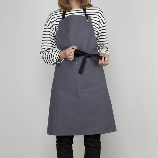 Full Apron - Slate Grey Cotton Canvas