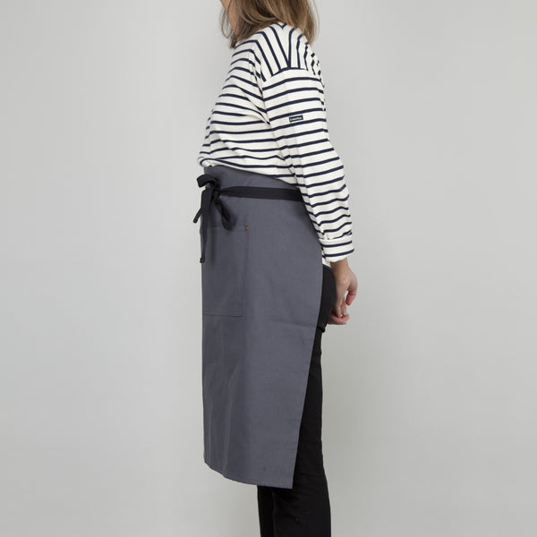 Waist Apron with Pockets - Slate Grey Cotton Canvas