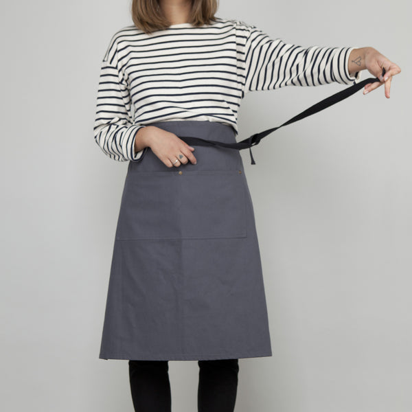 Waist Apron with Pockets - Slate Grey Cotton Canvas SECOND