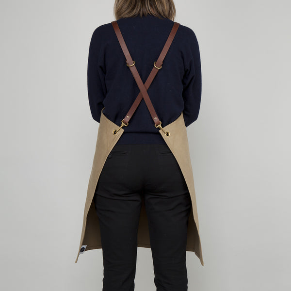 Workshop Apron - Leather Straps - Khaki
