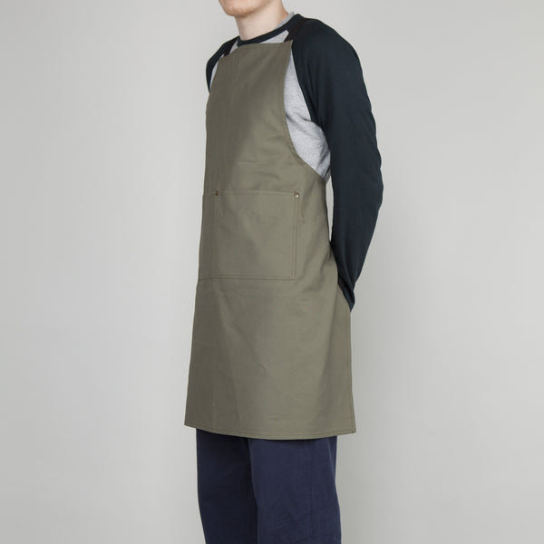 Full Apron - Cotton Canvas in Lovat - Cross Straps