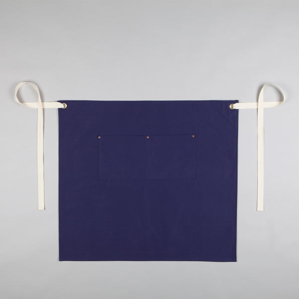 Waist Apron with Pockets - Sanded Cotton Twill in French Navy
