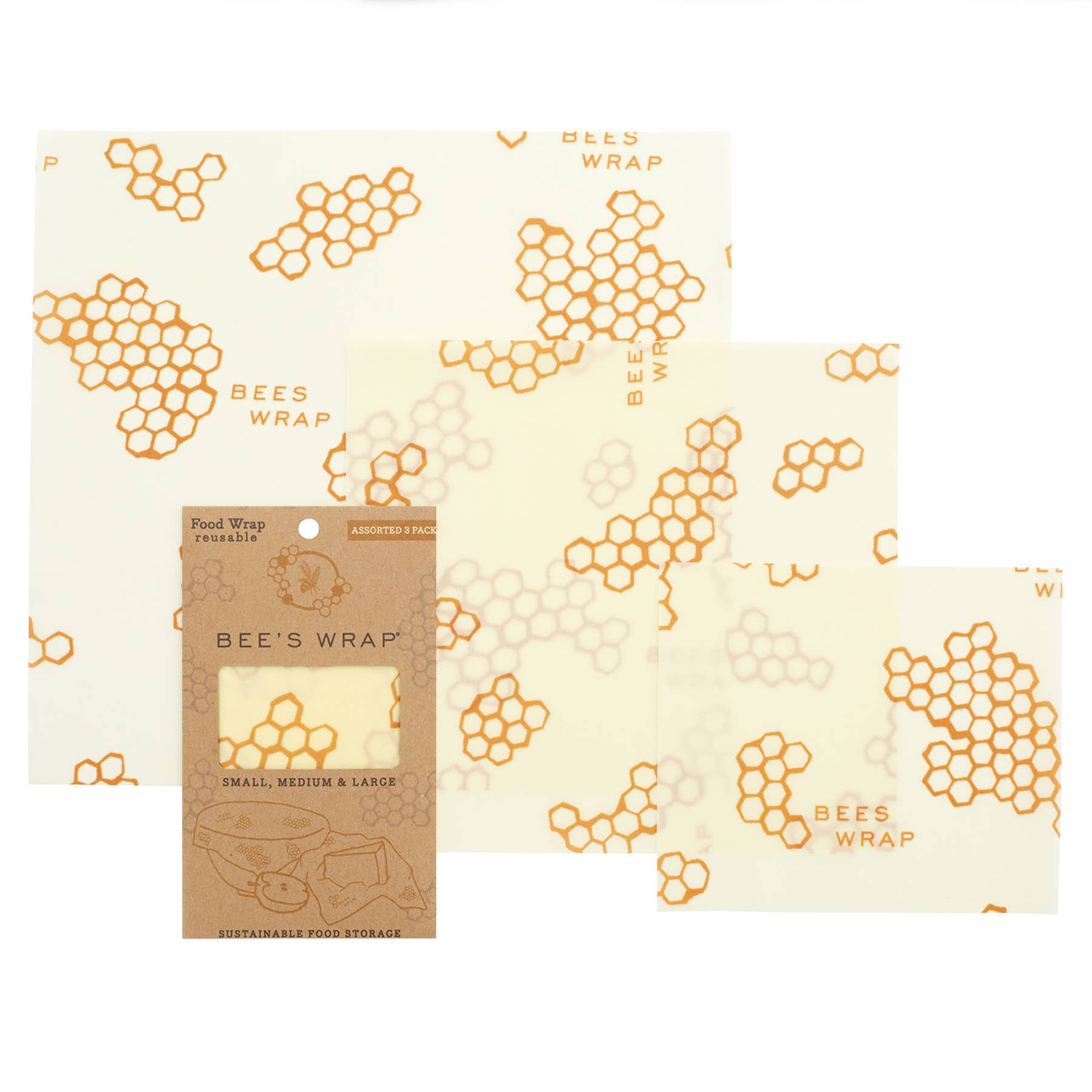 Bee's Wrap - 3 Pack Wraps - Assorted Sizes (HONEYCOMB PRINT)