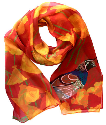 California Poppy + Quail Scarf