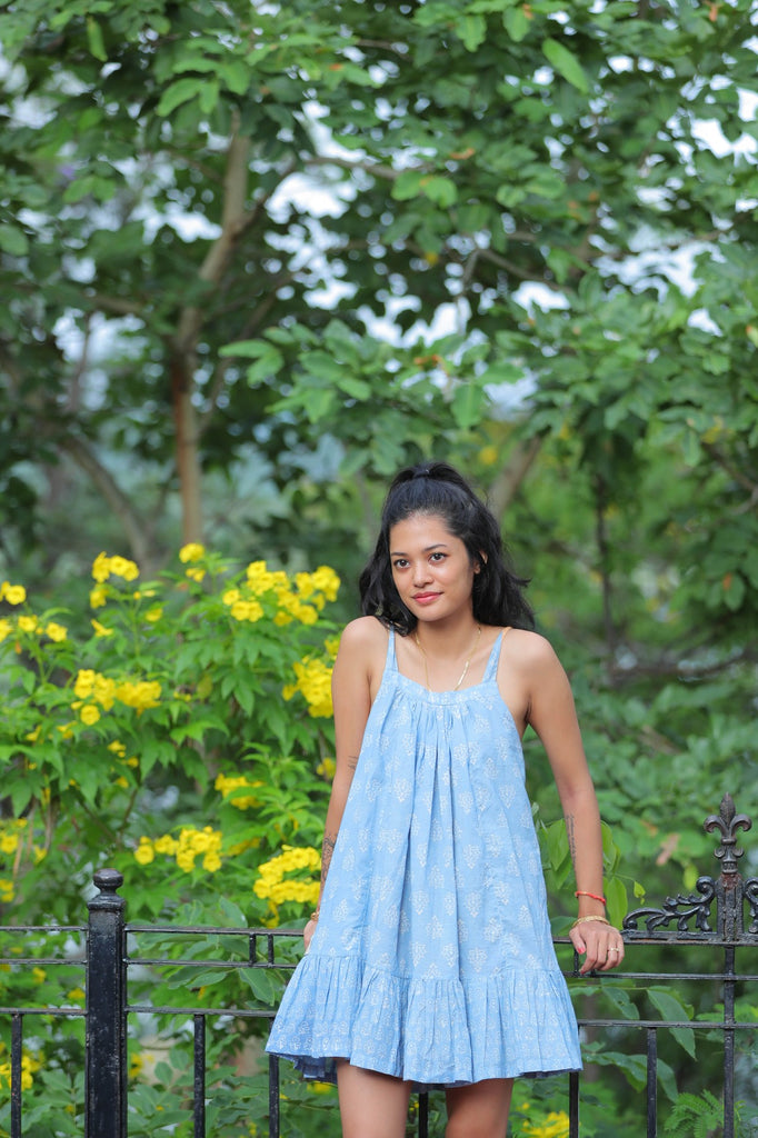 Padmini Reversible Dress Blue peach