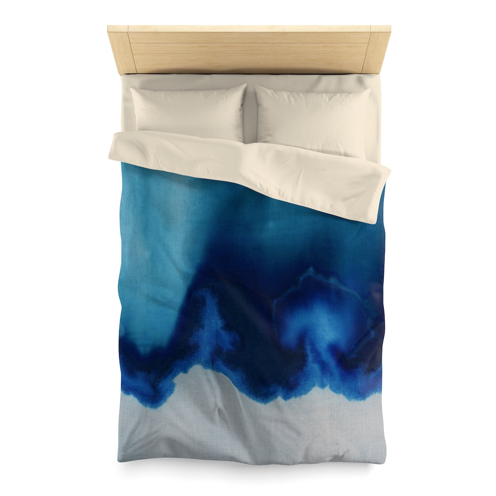 Dip Dyed Cyanotype Blue Textile Microfiber Duvet Cover