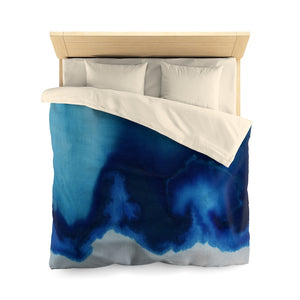 Open image in slideshow, Dip Dyed Cyanotype Blue Textile Microfiber Duvet Cover