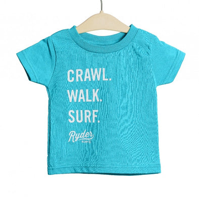 RYDER CRAWL WALK SURF TEE AQUA
