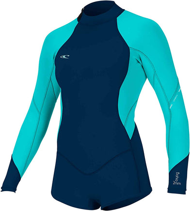 O'NEILL Girl's Bahia 2/1MM Back Zip L/S SURF Suit, Abyss/LTAQUA/LTAQUA, 10