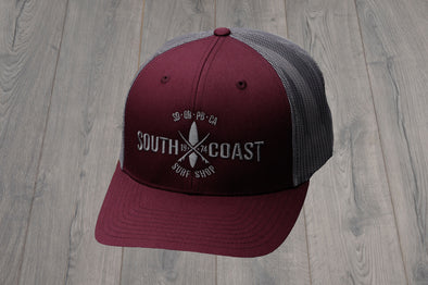 SOUTH COAST ADULTS CROSS LOGO HAT BURGUNDY