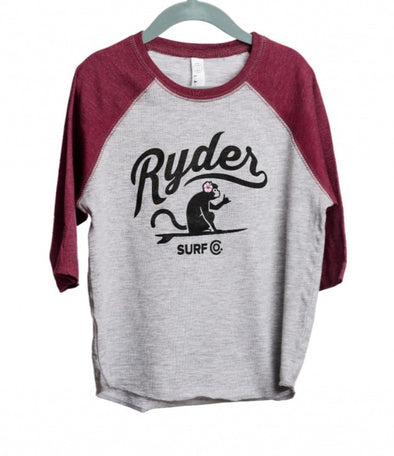 RYDER FLOWER MONKEY BASEBALL TEE BURGUNDY