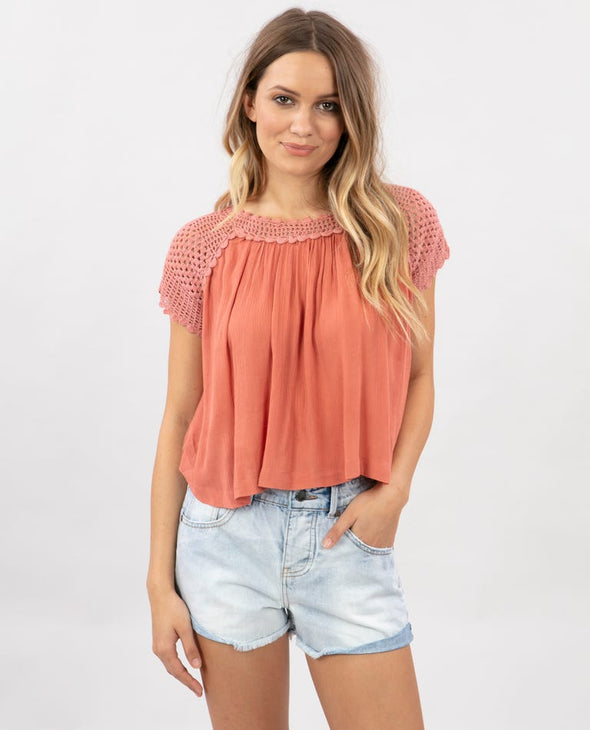 RIP CURL WOMENS ALANA KNIT TOP ROSE