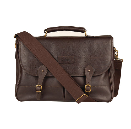 Barbour Leather Briefcase Dk Brow