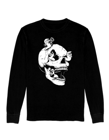 LONG SLEEVE SHIRT Sweet skull with gross worms coming out *LIMITED RUN*