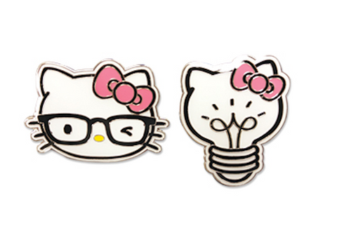 Hello Kitty - Kitty Head And Light Bulb Pin Set