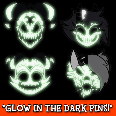 Helluva Skull Pin Set GLOW IN THE DARK *LIMITED EDITION*
