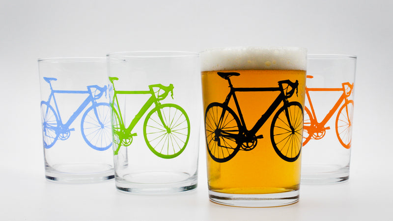 set of draft glasses with bicycles in various colour prints