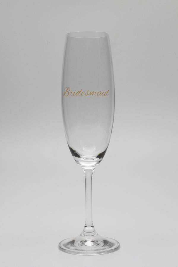 champagne glass with bridesmaid in metallic gold text