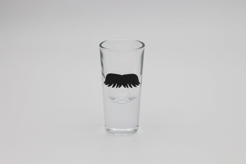 tequilla shot glass with moustache print in black