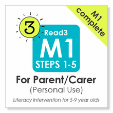 Load image into Gallery viewer, Read3 literacy intervention program | 5-9 years | Module 1 | Steps 1-5 | COMPLETE |  Parent