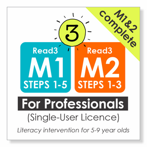 Read3 literacy intervention program | 5-9 years | Complete Module 1 & 2 | PROFESSIONAL | Single-User License