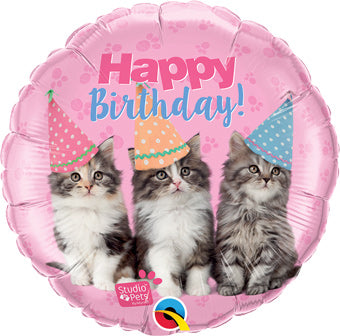 Happy Birthday - Party hats kittens