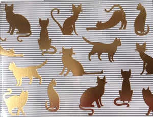 Cat Silhouette on Stripes - Blank boxed notes