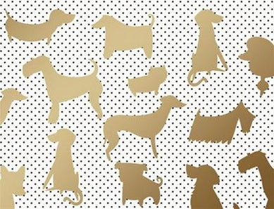Dog Silhouette on Stripes - Blank boxed notes