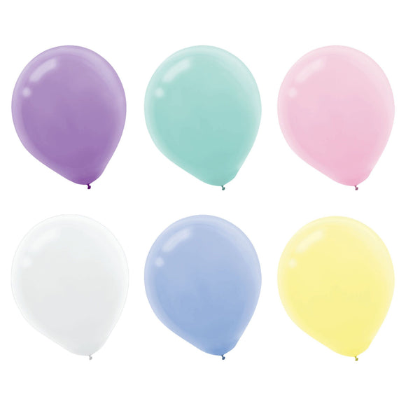 Bag of 15 Pastel Latex Balloons