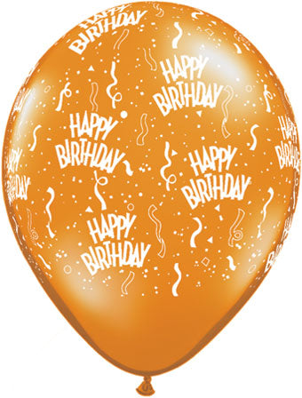 Happy birthday orange- Latex balloon
