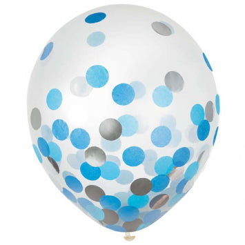 Blue/Silver w/ Confetti - Latex balloon