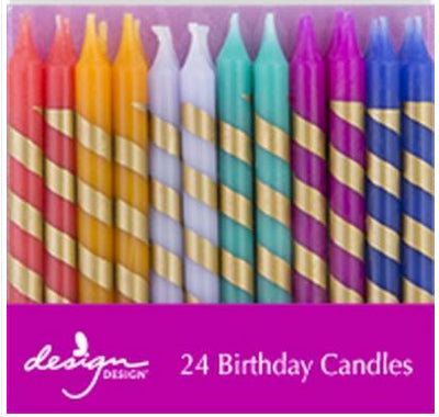 Birthday candles - Multicolor with gold stripes