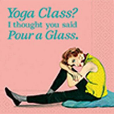Beverage napking - Yoga class pour a glass